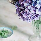Blue Hydrangeas in Vintage Vase by Tamsyn Morgans