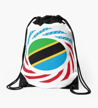 Tanzanian American Multinational Patriot Flag Series Drawstring Bag