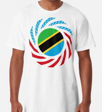 Tanzanian American Multinational Patriot Flag Series Long T-Shirt
