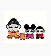 Yum Family: Nom, Jo, Coop & Free O'BABYBOT Toy Robot Art Print