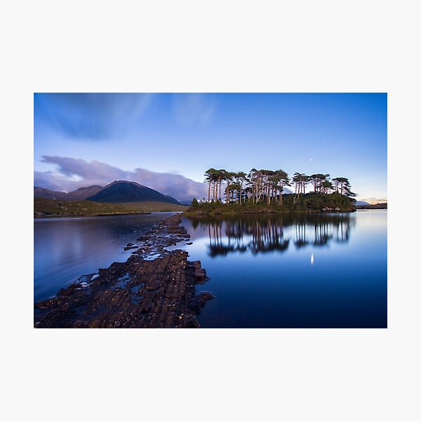 Pine Island in the light of a full moon, Galway, Ireland Photographic Print