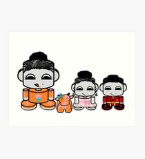 Yum Family: Nom, Jo, Coop & Free O'BABYBOT Toy Robot 2.0 Art Print