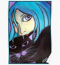 Blue and Her Cat Poster