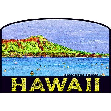 Hawaii Diamond Head Honolulu Vintage Beach Oahu by MyHandmadeSigns