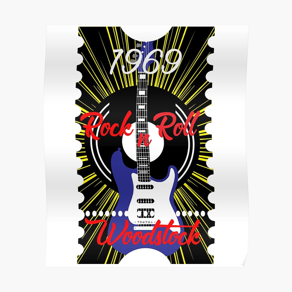 Woodstock rock n roll 1969 Electric Guitar & Music CD Drawing Novelty Gifts. Poster