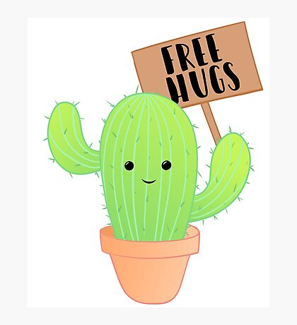 Cactus - Free Hugs - Cacti Puns - Plant Puns - Birthday - Valentines - Cute Puns Photographic Print