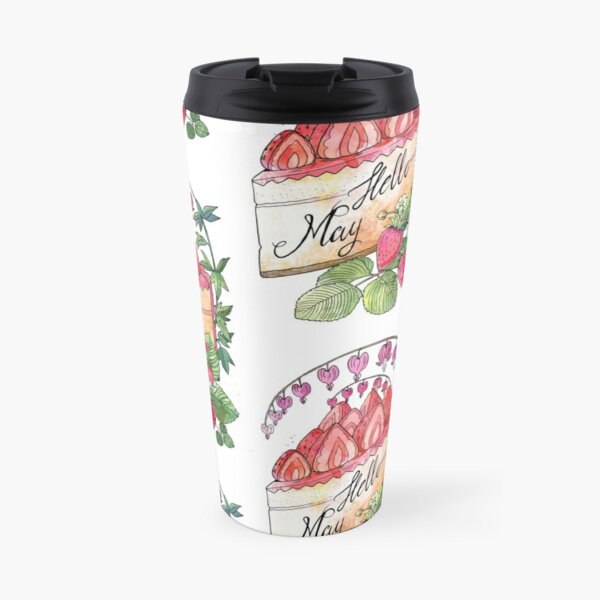 Hello May watercolor illustration with a strawberry cake Travel Mug