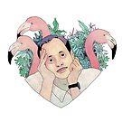 John Waters Flamingo Love Portrait by JGVart