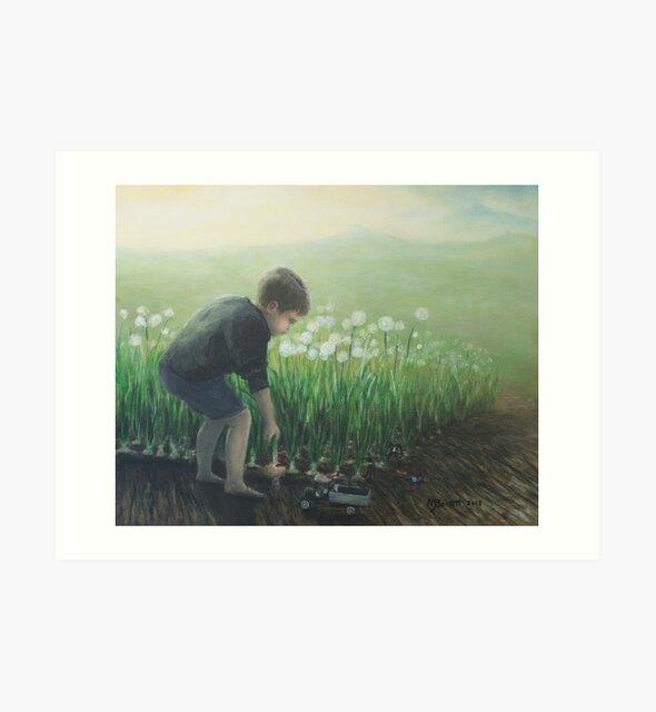 Child's Play in Vegetable Garden by Melissa J Barrett