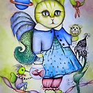 Whimsical cat art by Angieclementine  by Angieclementine