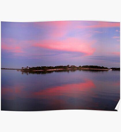 Pink sky after sunset Poster