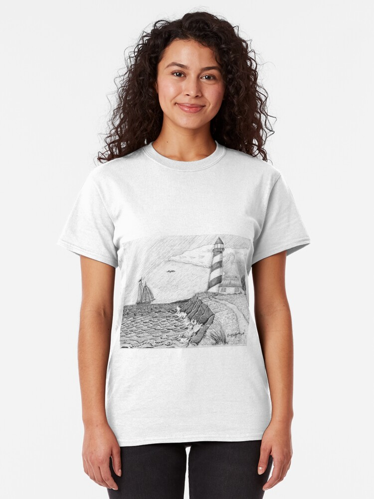 Alternate view of Lighthouse black and white Classic T-Shirt