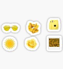 Yellow Sticker Pack- Scrunchie sticker, sun sticker, Polaroid sticker, rose sticker, sunflower sticker, sunglasses sticker, glasses sticker Sticker