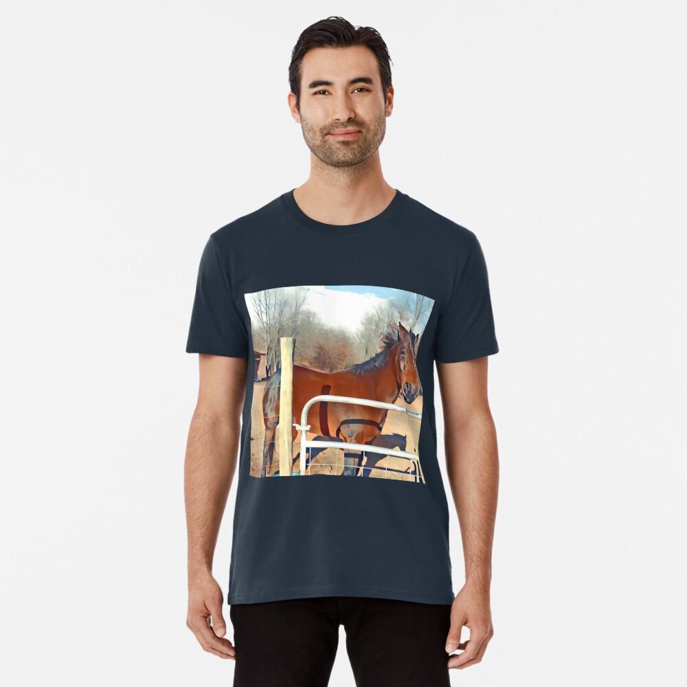 Braunes Pferd Bild Premium T-Shirt