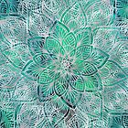 Exotic Floral Mandala on Teal by cadinera