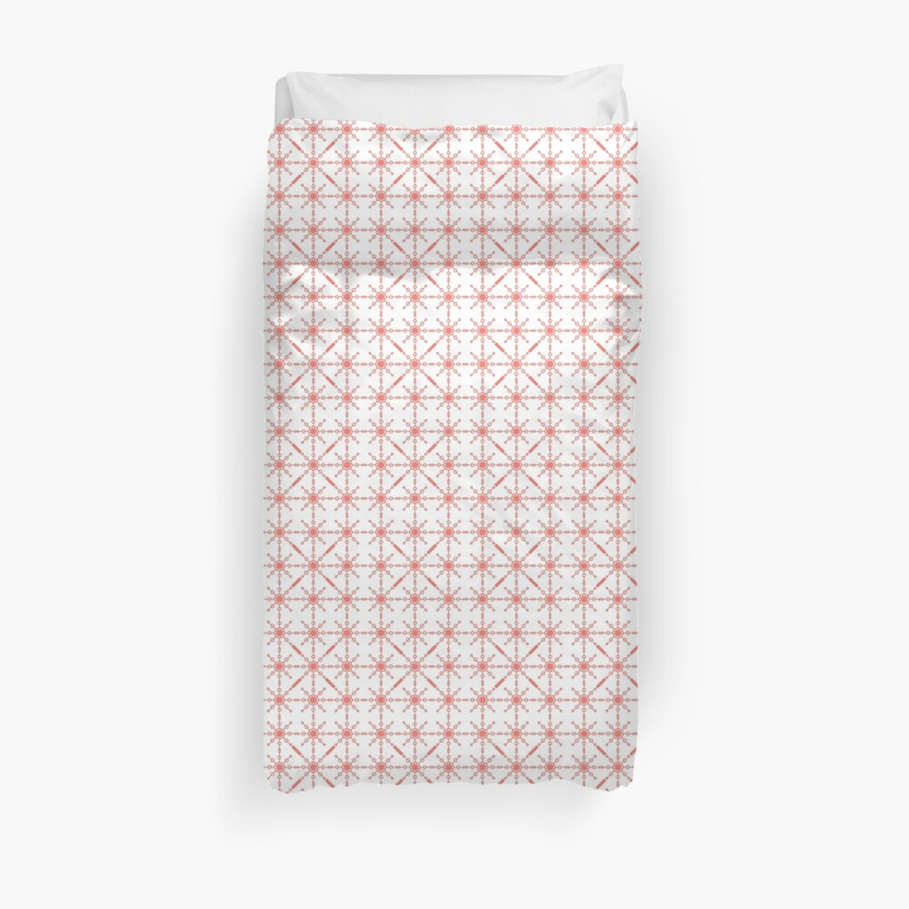 Coral Geometric by Art and Patterns1 Duvet Cover