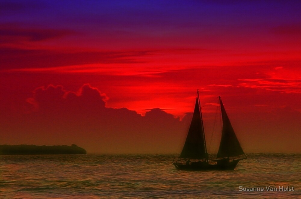 Red Boat in Sunset by Susanne Van Hulst