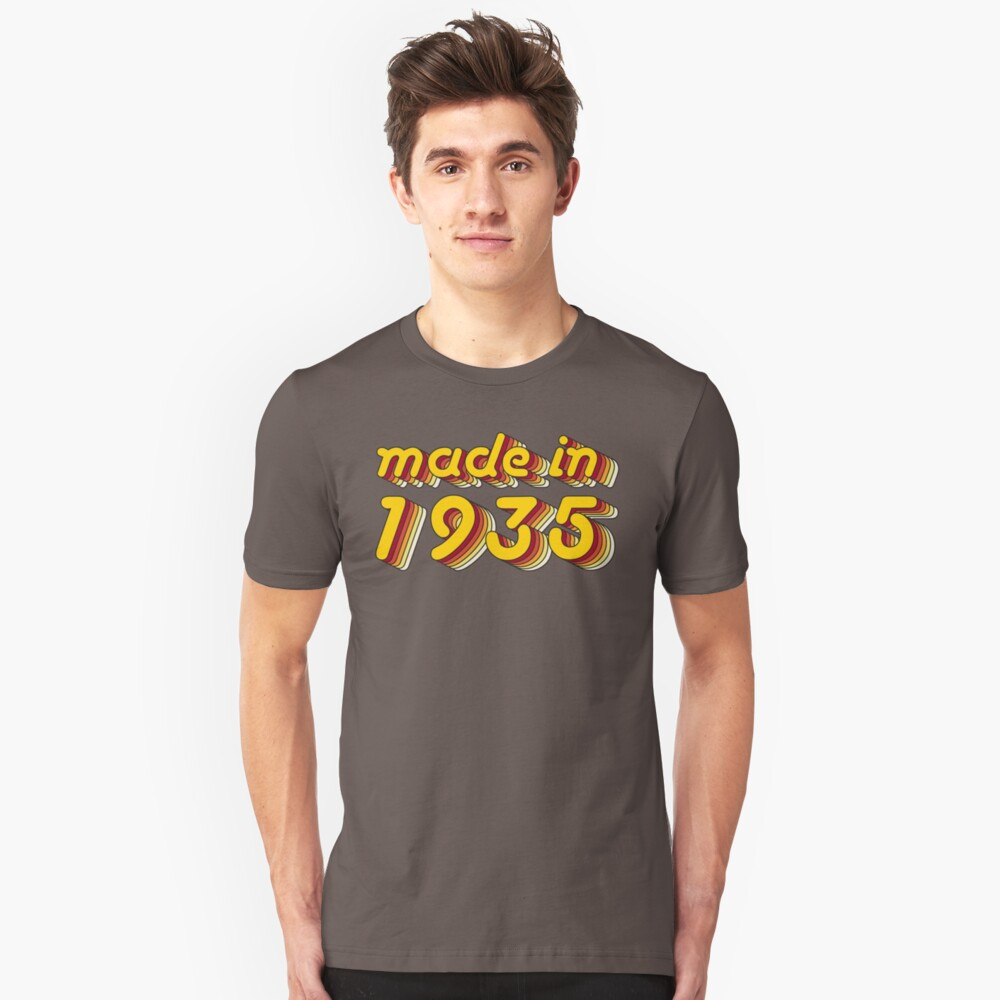 Made in 1935 (Yellow&Red) Unisex T-Shirt Front