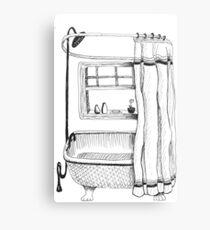 Claw Foot Bath Tub & Shower Ink Drawing Canvas Print