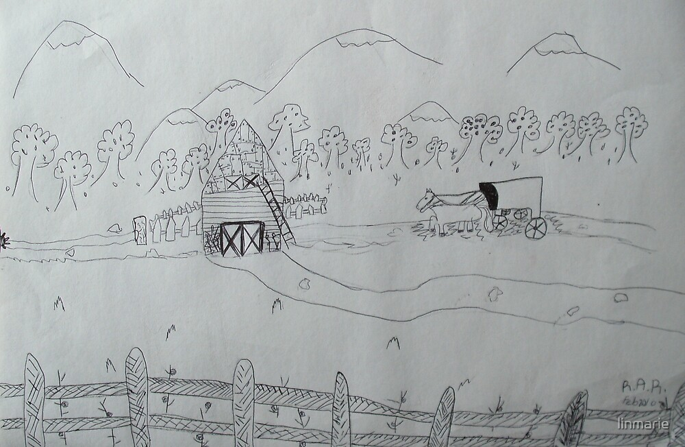 Ink drawing done by nine year old-(AMISH FARM) by linmarie