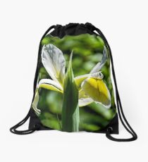 Yellow-White Iris Drawstring Bag