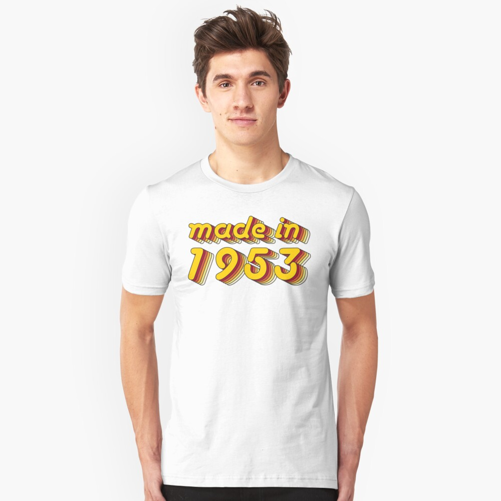 Made in 1953 (Yellow&Red) Unisex T-Shirt Front