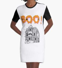 Boo! Haunted House Halloween Holiday T shirt Graphic T-Shirt Dress
