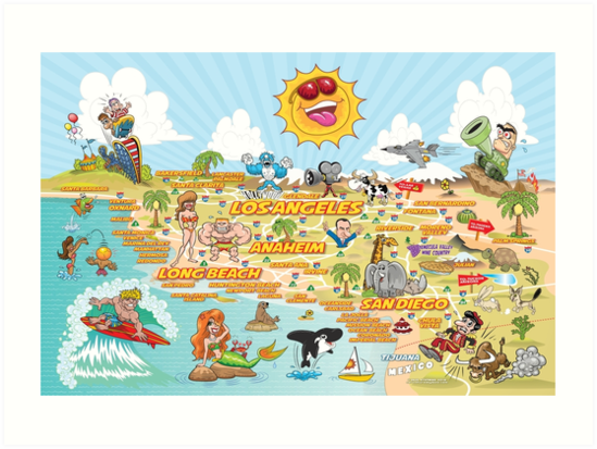 California Map Cartoon.Cartoon Map Of Southern California Art Prints By Dave Stephens