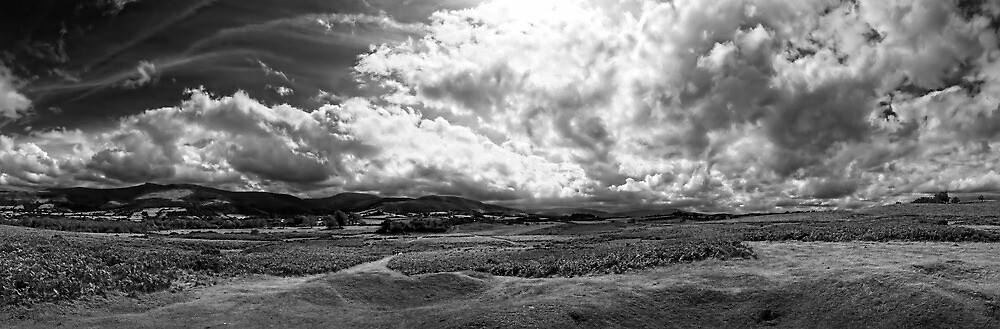 Brecon Beacons Panorama in Black and White by Noel Taylor