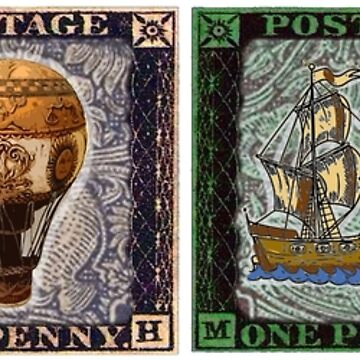 A panel of four antique stamps by jennyjeffries