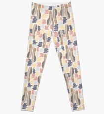 Hand drawn abstract shapes. Spotted and textured figures. Unique design Leggings