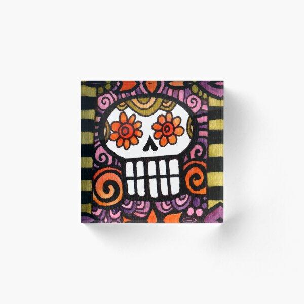 Day of the Dead Sugar Skull Acrylic Block