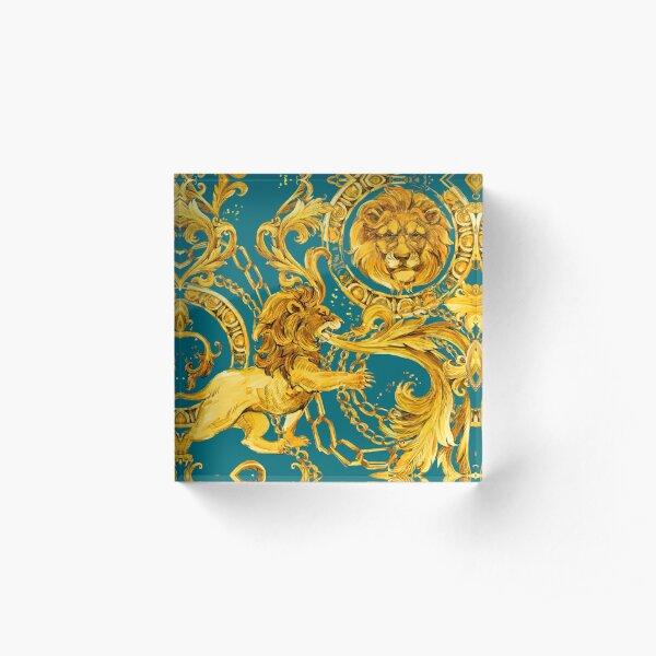 gold chains seamless pattern. luxury illustration. golden Byzantium design. luxury jewelry. riches seamless background. Acrylic Block