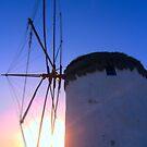 Mykanos Windmill at Dawn by Peter Bellamy