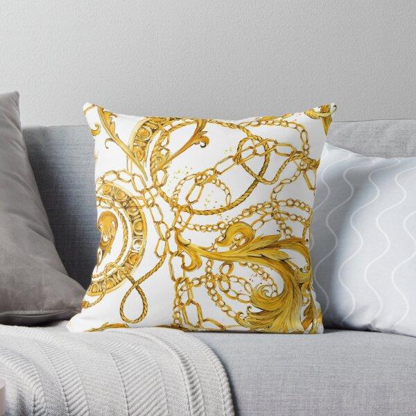 gold chains seamless pattern. luxury illustration. golden Byzantium design. luxury jewelry. riches seamless background. Throw Pillow