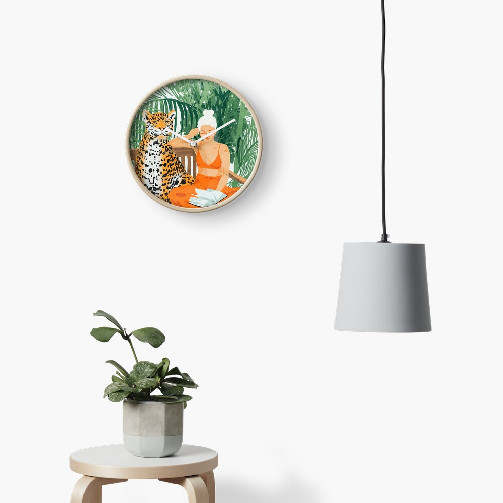 Jungle Vacay II #painting #illustration Clock