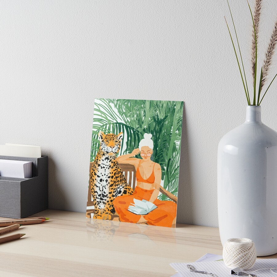 Jungle Vacay II #painting #illustration Art Board Print