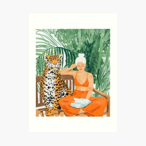 Jungle Vacay, Tropical Nature Painting, Woman & Wildlife, Tiger Cheetah Palms Illustration, Wild Cat Blonde Fashion Art Print