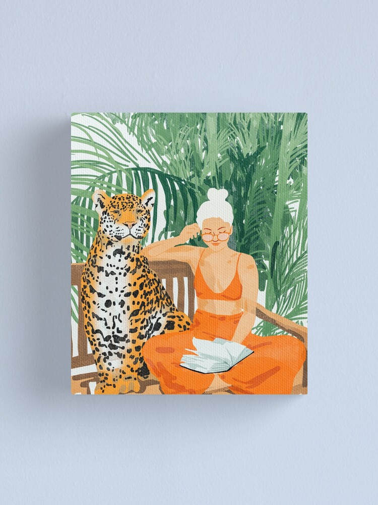 Alternate view of Jungle Vacay, Tropical Nature Painting, Woman & Wildlife, Tiger Cheetah Palms Illustration, Wild Cat Blonde Fashion Canvas Print