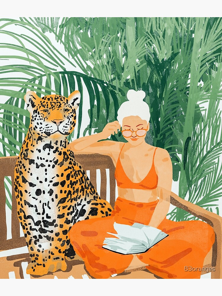 Jungle Vacay, Tropical Nature Painting, Woman & Wildlife, Tiger Cheetah Palms Illustration, Wild Cat Blonde Fashion by 83oranges
