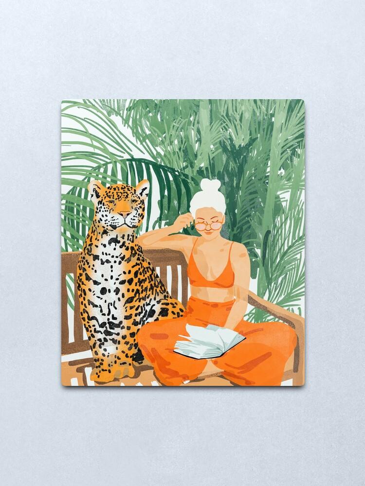 Alternate view of Jungle Vacay II #painting #illustration Metal Print