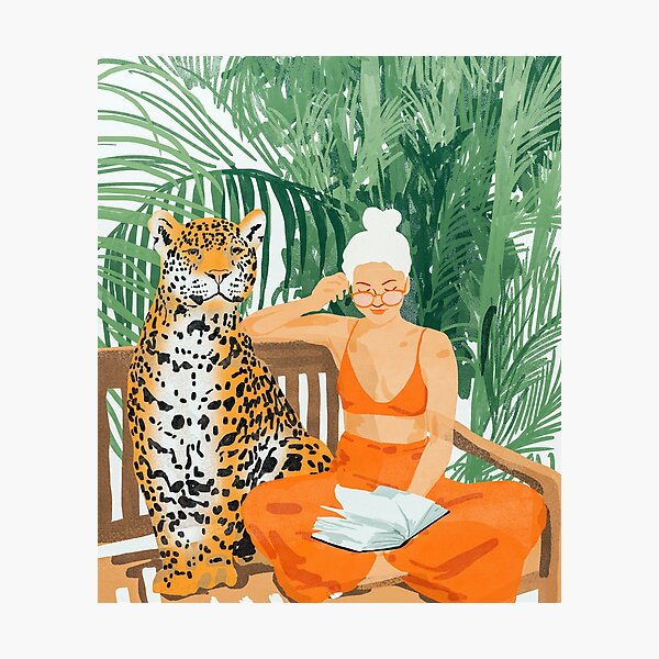 Jungle Vacay, Tropical Nature Painting, Woman & Wildlife, Tiger Cheetah Palms Illustration, Wild Cat Blonde Fashion Photographic Print