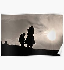 Sacsayhuaman sunset - a cross of cultures Poster