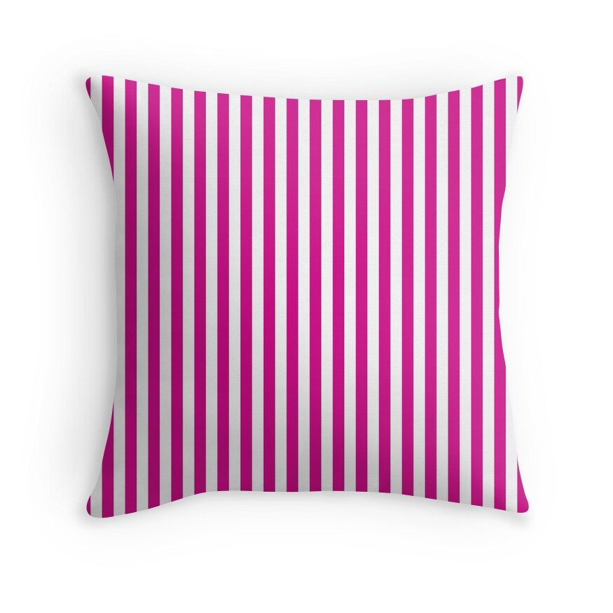 Shocking Valentine Pink and White Vertical Deck Chair Stripes