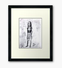 A girl drawn in charcoal Framed Print