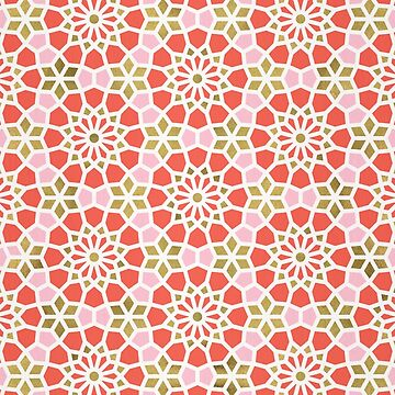 Persian Mosaic – Coral & Gold Palette by catcoq