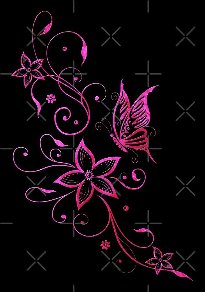 Blumen Sommer Blumenranke Schmetterling Pink Aquarell von Christine Krahl
