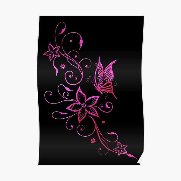 Blumen Sommer Blumenranke Schmetterling Pink Aquarell Poster