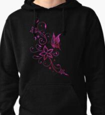 Blumenranke mit Schmetterling. Pink Aquarell. Hoodie