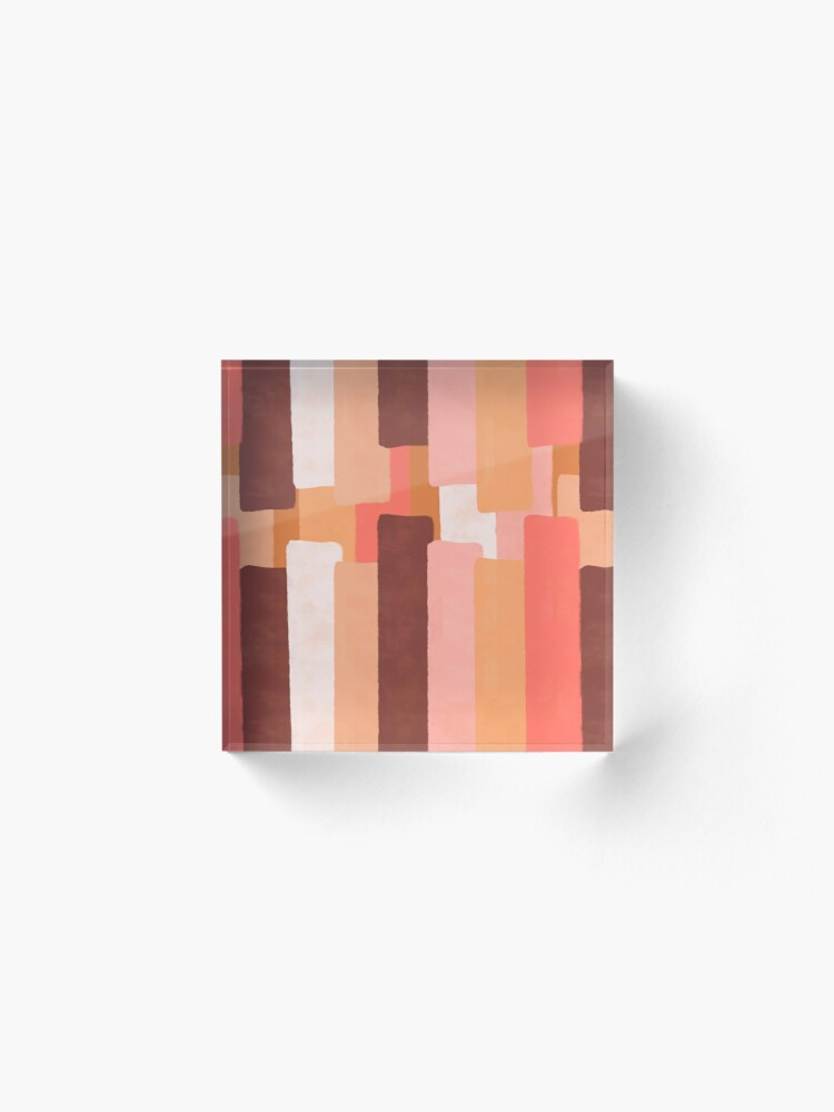 Alternate view of Line In Coral #redbubble #abstractart Acrylic Block